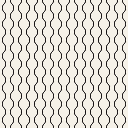 Vertical wavy lines seamless pattern. Abstract vector texture with waves, stripes, smooth bends. Simple monochrome background. Black and white repeat design for decor, tileable print, interior design.
