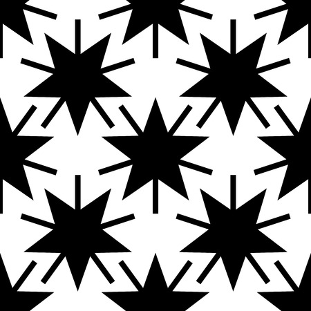 Seamless background with stars. Stylish seamless starry pattern. Endless stylish texture. Black white versions. Vector background Çizim