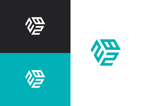 Combined number 282, vector element of the icon template. Set of numbers can be used as a city birthday or as a sports number for competitions. Simple creative geometric sign. Emblem for your design. Illusztráció