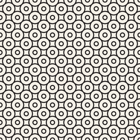 Circles seamless pattern. Wrapper vintage. Endless decorative linear round texture. Vector illustration for your design. Black white versions.
