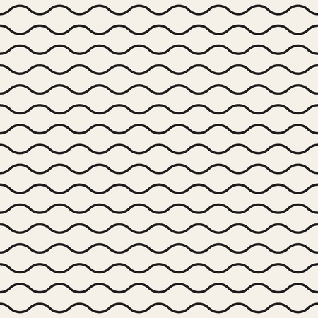 Horizontal wavy lines seamless pattern. Abstract vector texture with waves, stripes, smooth bends. Monochrome background.
