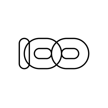 Hundred, mono line. Vector sign linear number 100, black overlapping thin lines isolated on white background. Three rounded figures. Text composition design concept. Creative outline symbol. Ilustração