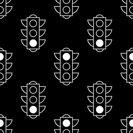 Seamless pattern of red and green traffic lights on black background. Flat design vector illustration. Repeating elements. Can be used for fabric, textile, wallpaper, wrapping paper, cover.