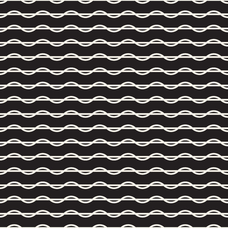 Horizontal wavy lines seamless pattern. Abstract vector texture with waves, stripes, smooth bends. Monochrome background. Black and white repeat design for decor, tileable print, interior design.