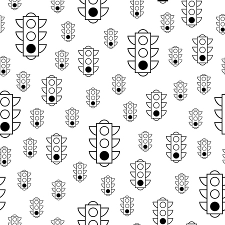 Seamless pattern of green traffic lights on white background. Linear vector pattern for book or package or screen design. Minimalistic style design. Black white versions.