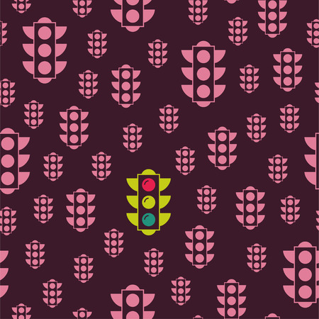 Yellow American traffic light. Vector seamless pattern. Pink repeating elements on a dark background. Can be used for fabric, textile, backround, wallpaper, wrapping paper, cover.