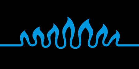 Abstract waves of flame. Stylized blue fire burning natural gas isolated on black background. Modern creative symbol of the gas industry. Vector illustration for your design. Illustration