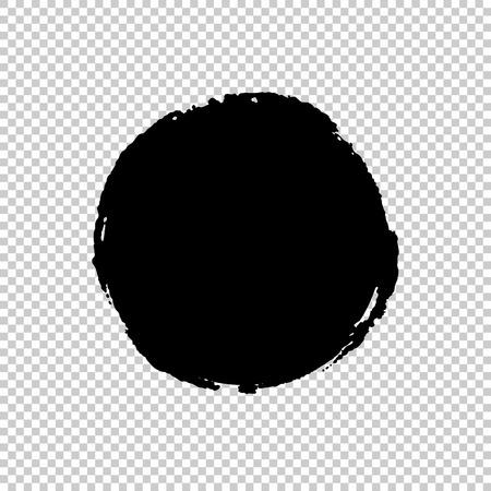 Circle Brush Stroke. Ink print of stamp. Distress Frame. Black round banner, logo, design element. Seamless transparent background with a chessboard. Vector illustration for your design Illustration