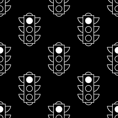 Seamless pattern of red traffic lights on black background. Flat design vector illustration. Repeating elements. Can be used for fabric, textile, wallpaper, wrapping paper, cover.