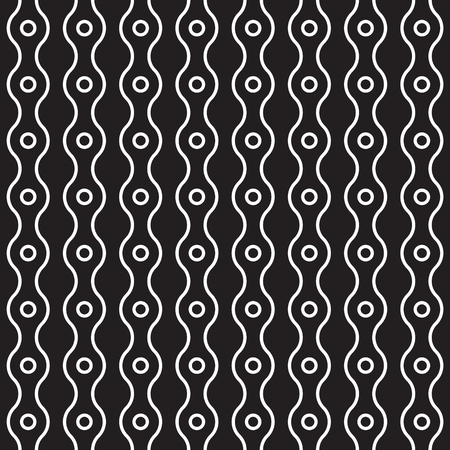 Vector seamless pattern from rings and vertical wavy lines. Simple modern abstract background. Abstract monochrome geometric texture. Stylish design for prints, decoration, fabric, covers, linens
