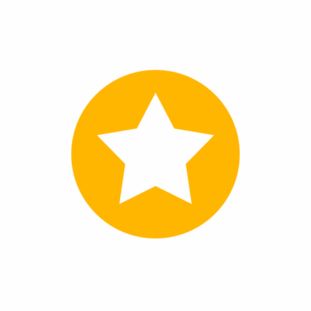 Star in circle icon. Simple flat symbol. Star web site pictogram, mobile app. Perfect yellow pictogram illustration on white background.