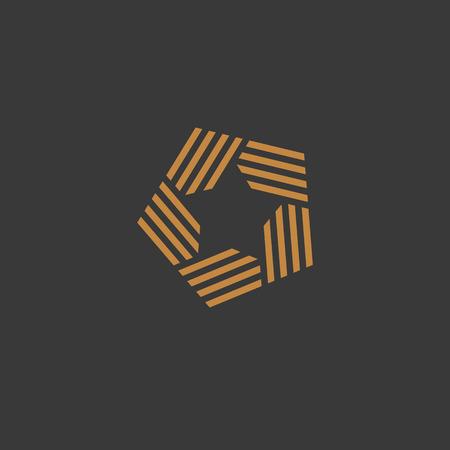Illustration créative du modèle de logo étoile abstraite, style linéaire tendance. Symbole de vecteur d'or. Concept d'emblème pour le show business.