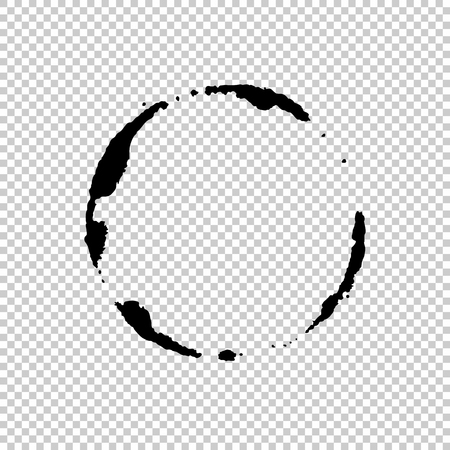 Brush painted black ink circle on transparent background. Icon, logo, banner design. Seamless background with a chessboard. Vector illustration for your design. Illustration