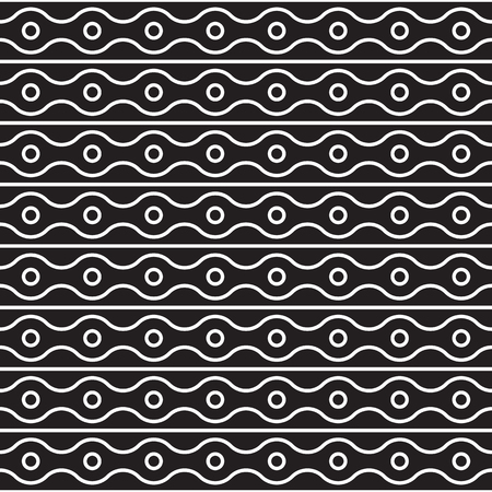 Vector seamless pattern of rings, horizontal straight and wavy lines. Simple modern abstract background. Abstract monochrome geometric texture. Stylish design for prints, fabrics, covers, bed linen.