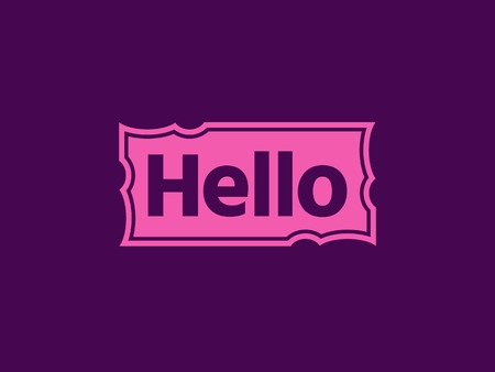 Hello quote message in pink rectangular frame. Simple text hello sign. Speech pink frame with word hello. Pink frame Isolated on violet background. Vector illustration for your design.