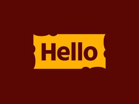 Hello quote message in yellow rectangular frame. Simple text hello sign. Speech yellow frame with word hello. Yellow frame Isolated on brown background. Vector illustration for your design.