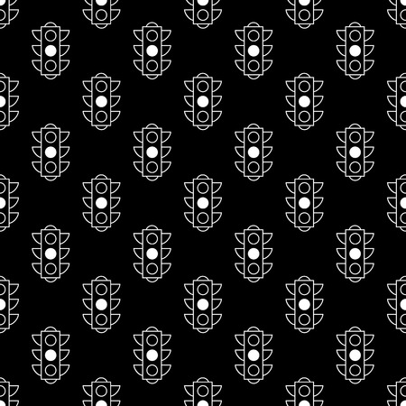 Seamless pattern of yellow traffic lights on black background. Print for the designer. Linear vector pattern for book or package or screen design. Minimalistic style design. Black white versions.