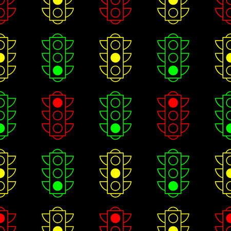 Outline design traffic lights seamless pattern background. Contour line colored pictogram on black background. Vector illustration