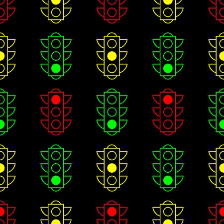 Outline design traffic lights seamless pattern background. Contour line colored pictogram on black background. Vector illustration