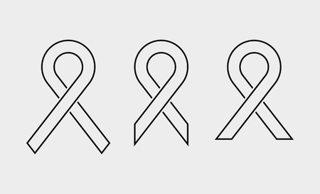 Set of vector black awareness ribbons from 3 different templates. World AIDS day. Medical sign for a poster or banner of social action solidarity. The symbol of the fight against breast cancer vector.