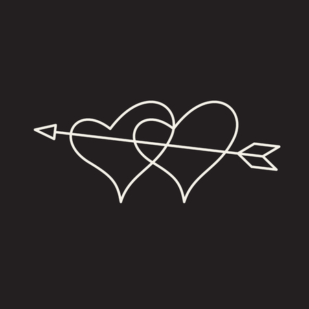 Linear illustration of an icon of two hearts pierced by an arrow, hearts and arrow, love between a man and a woman, fall in love, Valentine's Day, love, a holiday of love on a black background.