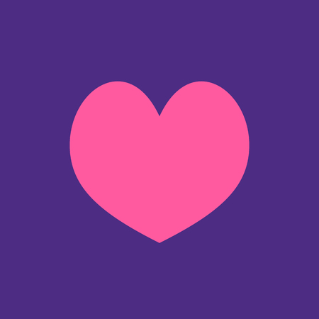 Pink heart Icon in trendy flat style isolated on blue background. Love symbol for your web site design, logo, app, UI. Simple vector element illustration. Stock Illustratie