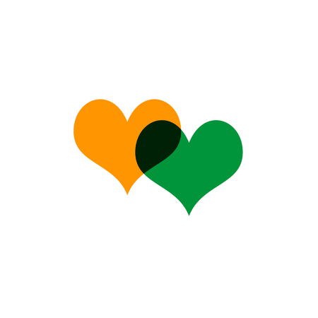 Hearts icon yellow and green on white Çizim