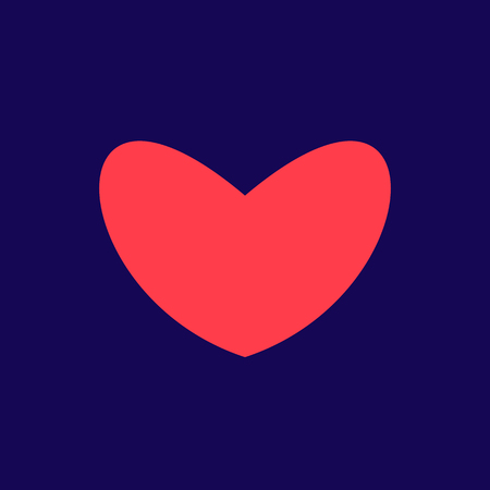 Red heart Icon in trendy flat style isolated on blue background. Love symbol for your web site design, logo, app, UI. Simple vector element illustration. Stock Illustratie