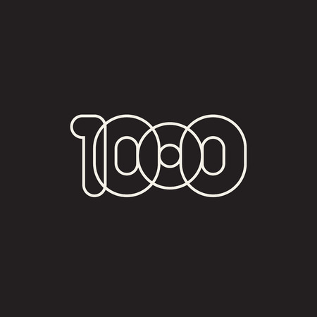 Thousand, mono line. Vector sign linear number, white overlapping thin lines isolated on black background. Four rounded figures. Text composition design concept. Creative outline symbol. 1000th year.