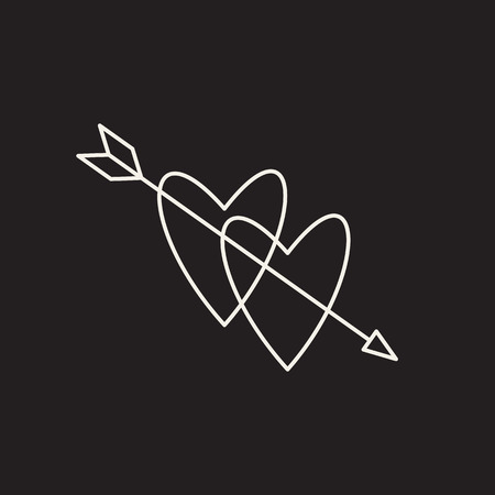 Two hearts pierced with arrow vector sketch icon isolated on background. Hand drawn two hearts pierced with arrow icon. 矢量图像