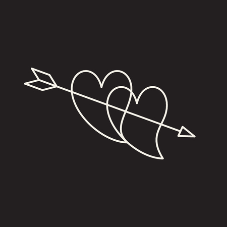 Symbol of hearts and arrow. Thin line icon of saint Valentin lineal. Hand drawn two hearts pierced with arrow. Vector sketch isolated on black background. Outline Vector Symbol.