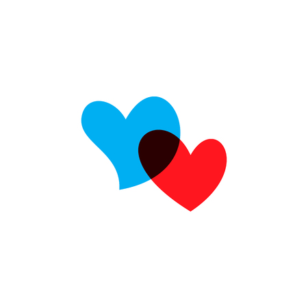 Romantic hearts icon blue and red. Heart icon isoleated on white background. Love symbol. Happy valentines day and wedding design elements. Simple vector element illustration in a modern style. Illustration