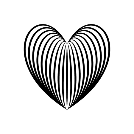 Heart icon, love symbol in engraving style or etching. Stylized vector heart, consisting of black lines on white background. Line creative symbol. Stylish vector emblem for your design.  イラスト・ベクター素材