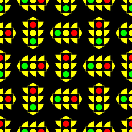Yellow American traffic light. A business card for the holiday. Vector seamless pattern for webmasters and textiles. Can be used for fabric, textile, backround, wallpaper, wrapping paper, cover.