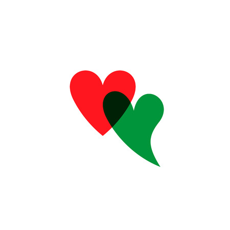 Romantic hearts icon green and red. Heart icon isoleated on white background. Love symbol. Happy valentines day and wedding design elements. Simple vector element illustration in a modern style. Иллюстрация