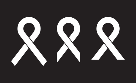 Set of vector white awareness ribbon on black background. World AIDS day. Medical sign for a poster or banner of social action solidarity.