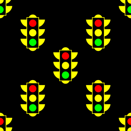 Yellow American traffic light. Vector seamless pattern on black background. Can be used for fabric, textile, backround, wallpaper, wrapping paper, cover.