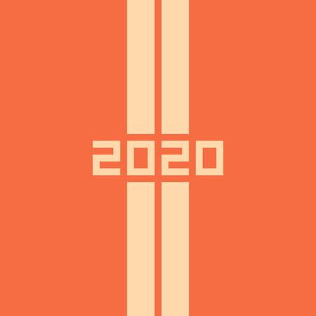 2020 Felice Anno Nuovo o Natale. Absracts illustrazione vettoriale di due strade diritte diagonali. Vista dall'alto. Autostrada. Bandiera della pista. Stile minimalista. Vettoriali