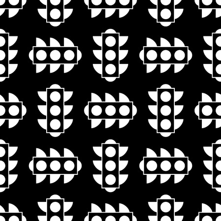 Seamless traffic light pattern repeating for any web design. Simple vector elements for your design. Black white versions.