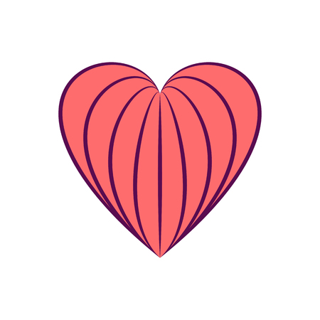 Linear stylized heart icon isolated on white background. Design element for Valentine day, decoration. For valentine and wedding cards, invitations, web and interior design. Vector illustration.