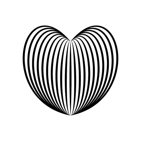 Heart icon, love symbol in engraving style or etching. Stylized vector heart, consisting of black lines on white background. Line creative symbol. Stylish vector emblem for your design. Illustration
