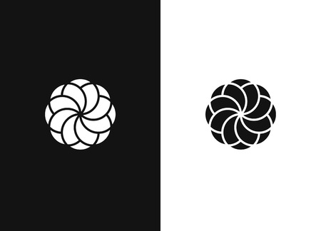 Abstract vector, graphic sign. Elegant floral logo. Black white version of the design element.