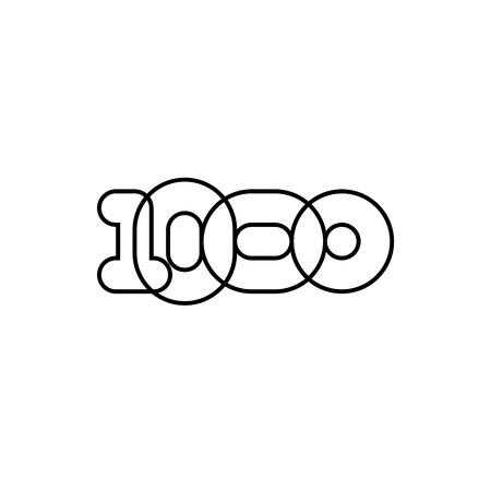 Thousand, mono line. Vector sign linear number, black overlapping thin lines isolated on white background. Four rounded figures. Text composition design concept. Creative outline symbol. 1000th year. Иллюстрация