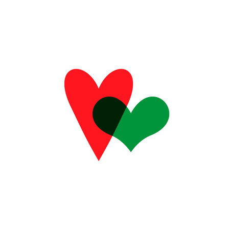 Hearts icon green and red on white
