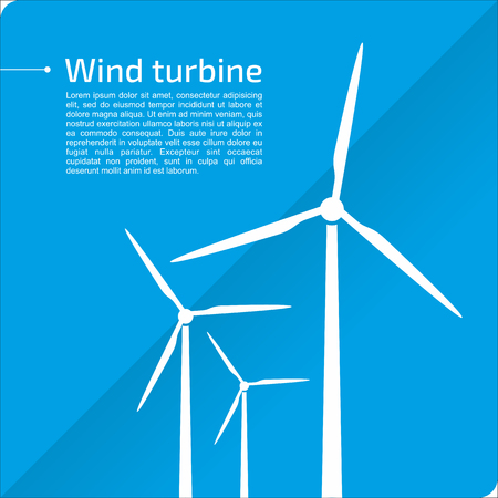 White wind turbines on blue background. Idea of energy and power. Vector illustration with place for text.