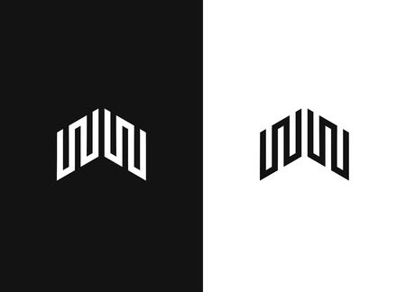 Initial letter WW design logo line art monogram. Minimalist modern logo. Linear creative symbol. Business sign, identity, label, badge. Negative or black and white vector template design.