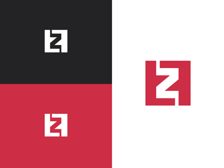 Z and F letters logo square icon. Best for identity and logotypes. Number 2. Vector illustration for your design. Illustration