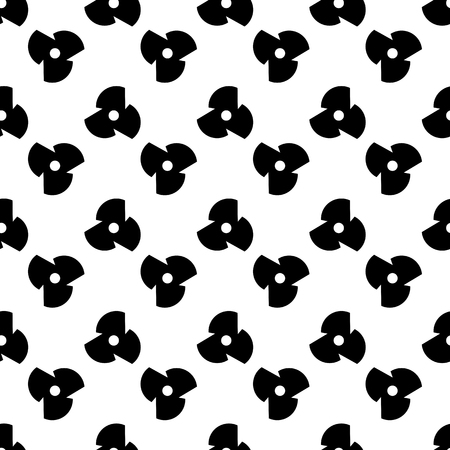 Geometric tiles with the three-pointed screw. Floral seamless background. Vector pattern background - monochrome geometric wallpaper.