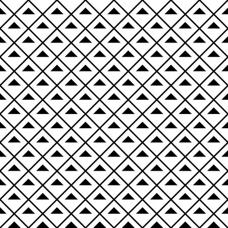 Black and white striped diamonds in rows. Seamless stylish geometric background. Modern abstract pattern. Flat monochrome design.