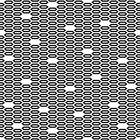 Modern stylish texture. Repeating geometric tiles. Regular monochrome background. Empty and filled hexagons form stylish minimalistic ornament. Trendy graphic design. Vector seamless pattern.